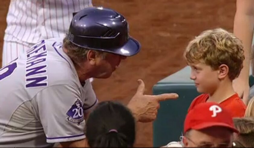 Watch Rockies' Rene Lachemann give life lessons to young Phillies fan