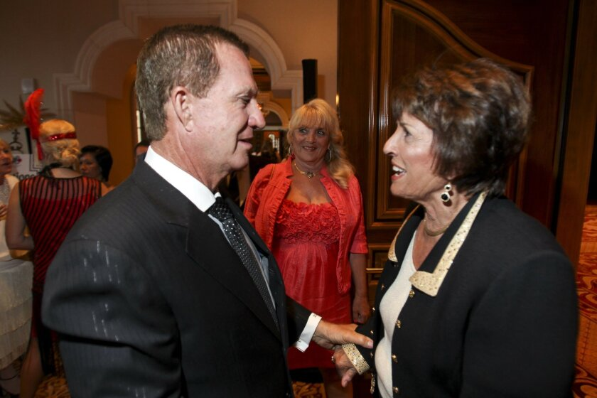 U-T San Diego Publisher Doug Manchester with Mary Mickelson at the Gatsby Gala on Sunday. / photo by Hayne Palmour IV • U-T San Diego
