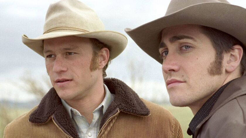 """Heath Ledger, left, and Jake Gyllenhaal, in a scene from """"Brokeback Mountain."""" The cowboy love story was inducted into the Library of Congress' National Film Registry."""