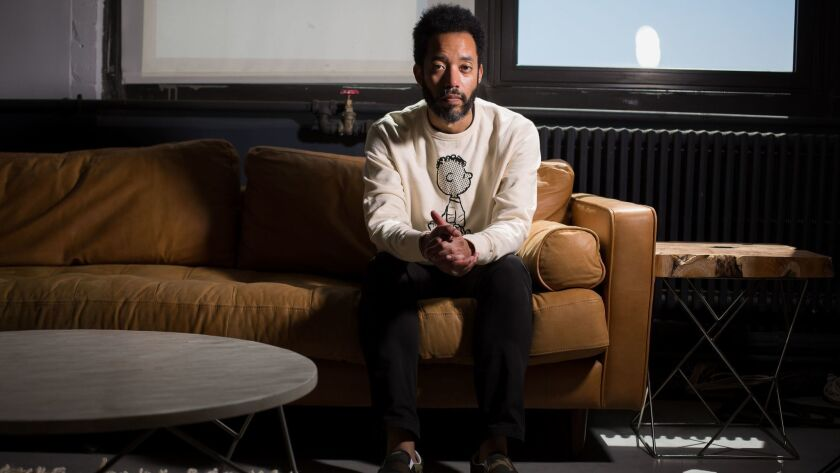 "Comedian Wyatt Cenac at the production offices of his new HBO series ""Problem Areas"" in Brooklyn."