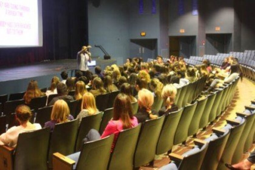 At the voluntary Rachel's Challenge assembly at La Jolla High, about 100 students learn how to set off a chain reaction of kindness.