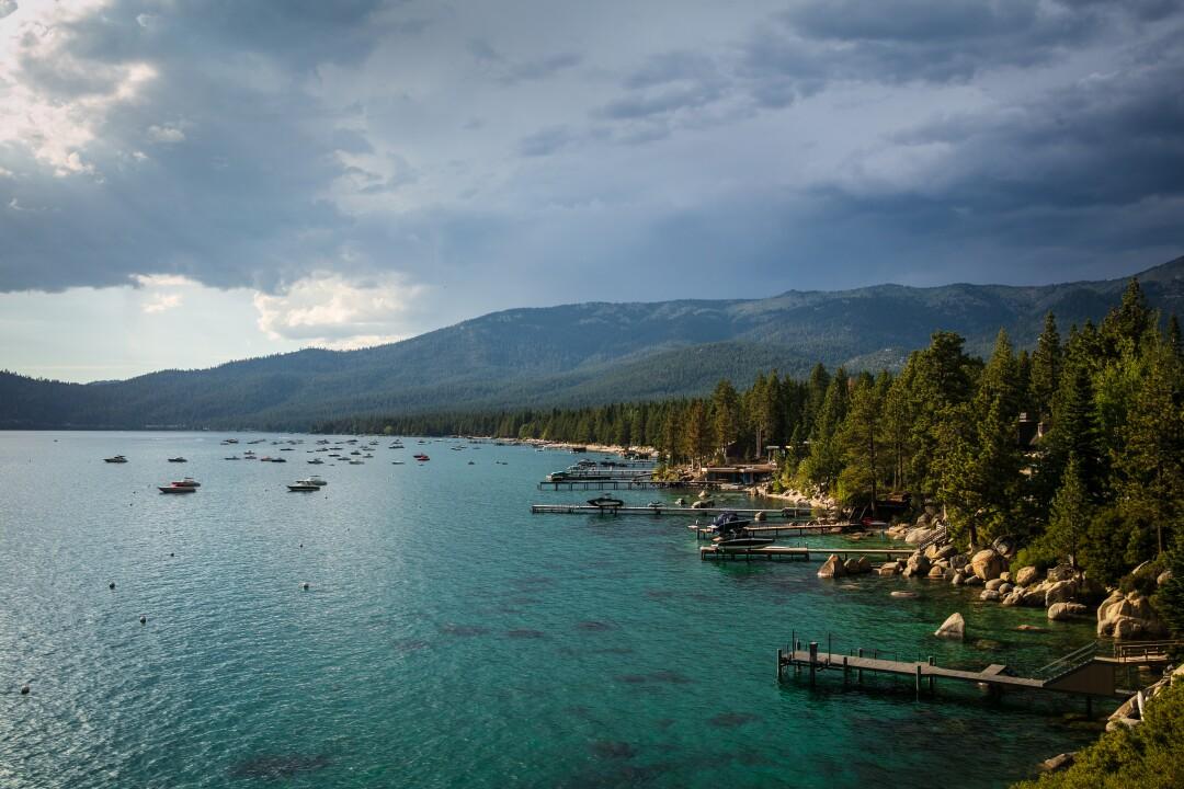 The Lake Tahoe shoreline near Sand Harbor, Nev.