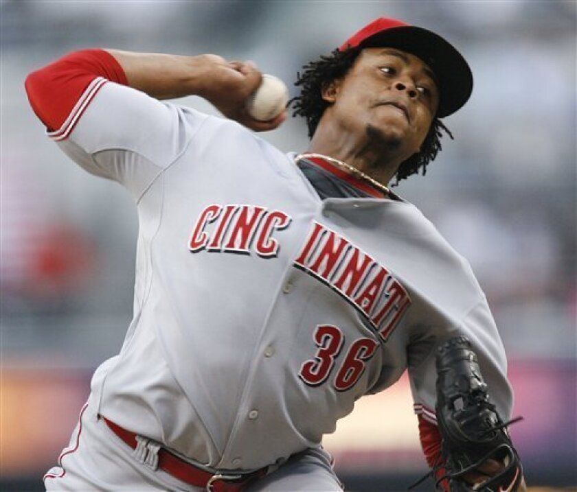 Cincinnati Reds pitcher Edinson Volquez delivers during the first inning of a baseball game against the San Diego Padres Saturday, May 16, 2009 in San Diego. (AP Photo/Denis Poroy)