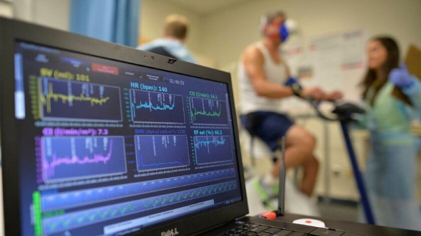 A patient undergoes a cardiac stress test in Augusta, Ga., in 2014.