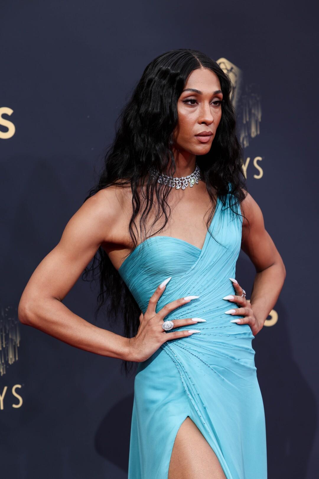 Michaela Jaé Rodriguez strikes a pose in an aqua gown.