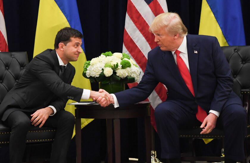 Ukrainian President Volodymyr Zelensky and President Trump