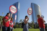 Marriott workers hit the streets in San Diego to demand better pay, working conditions