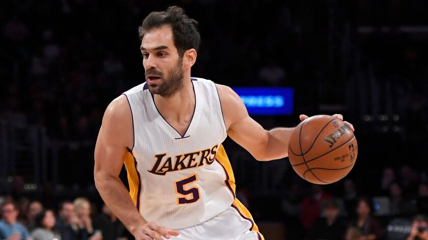 Los Angeles Lakers guard Jose Calderon of Spain drives toward the basket during the first half of an NBA basketball game Nov. 27 in Los Angeles.