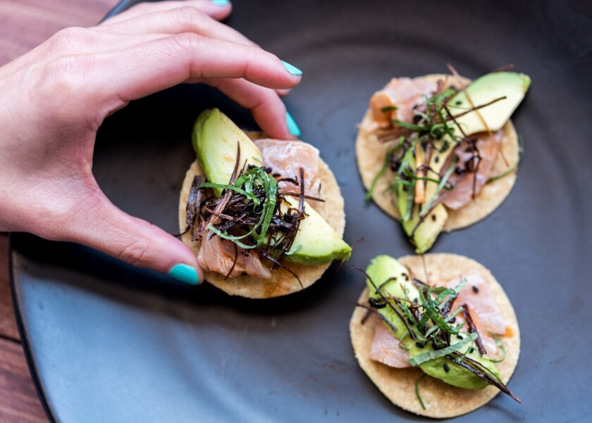 Tahona's ahi tostadas, inspired by Contramar chef Gabriela Cámara, are the perfect little bite.