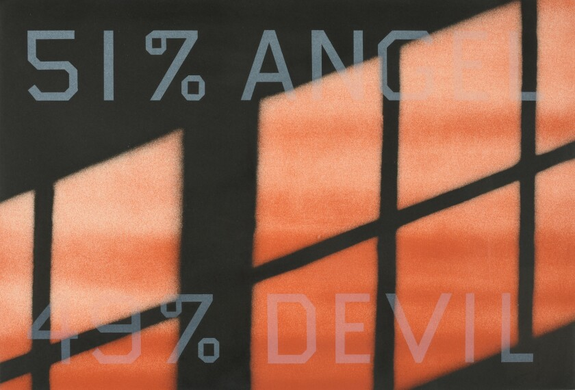 """""""51% Angel/49% Devil"""" by Edward Ruscha is part of the """"California Printmakers"""" exhibition at the Laguna Art Museum."""