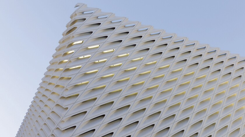 The Broad museum's honeycombed facade is one of several striking features of the building.