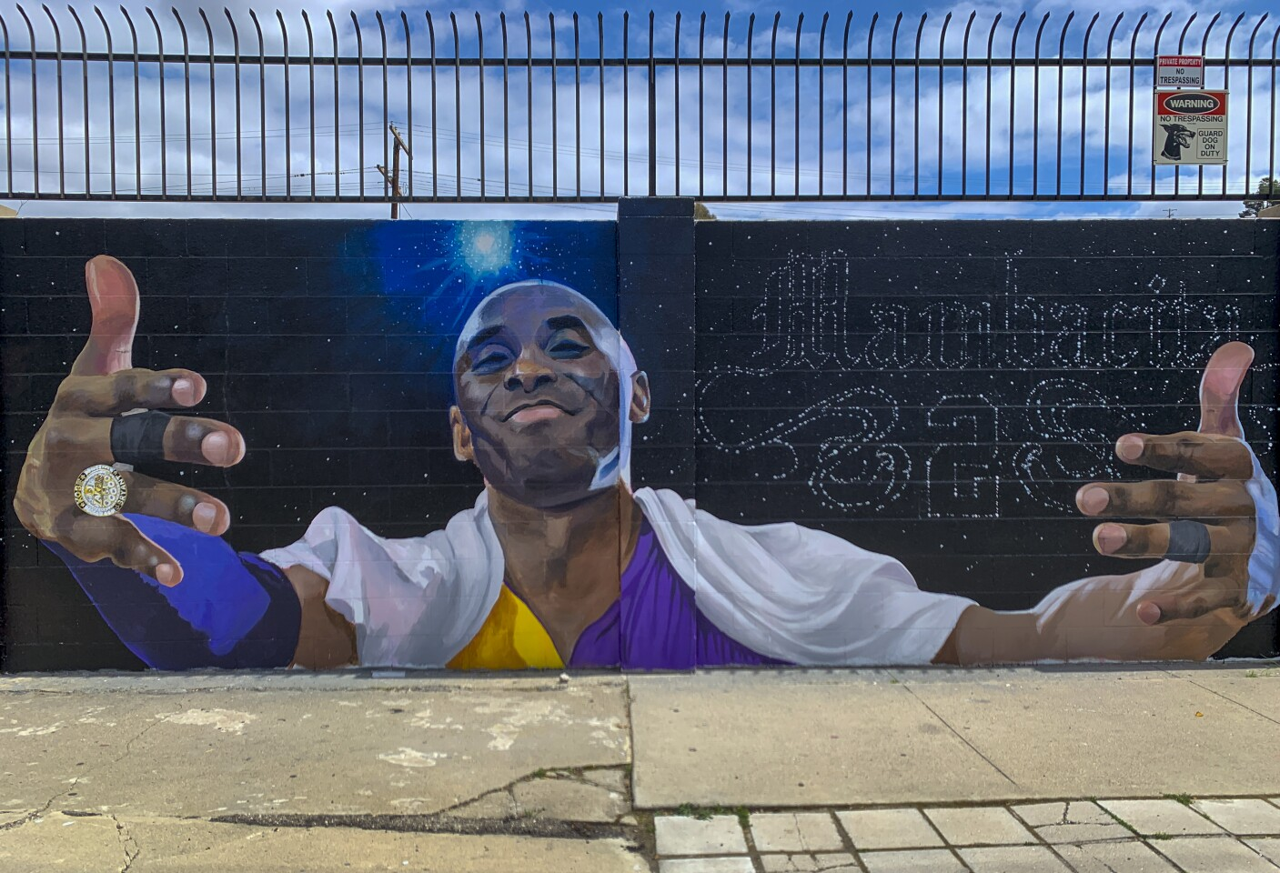 """Kobe Bryant mural, """"After the final Lakers' game"""", by Melany Meza-Dierks, @melanymd at 5220 Valley Blvd. in El Sereno. This Kobe Bryant tribute mural in Southern California is part of 301 worldwide featured on the KobeMural website and Instagram."""