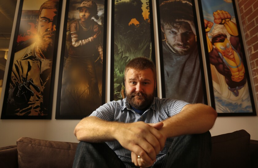"""Robert Kirkman, creator of """"The Walking Dead"""" and """"Outcast"""" comic book series and TV shows, at his Skybound Studio in Los Angeles in 2016."""