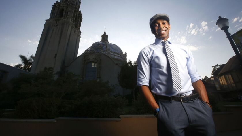 "Edred Utomi, photographed in Balboa Park last September. The University of San Diego-trained actor is now the standby for the title role in the touring ""Hamilton."""