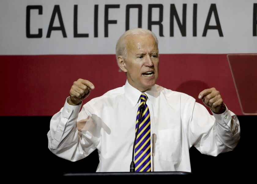 President-elect Joe Biden speaks at a rally at Cal State Fullerton in 2018.