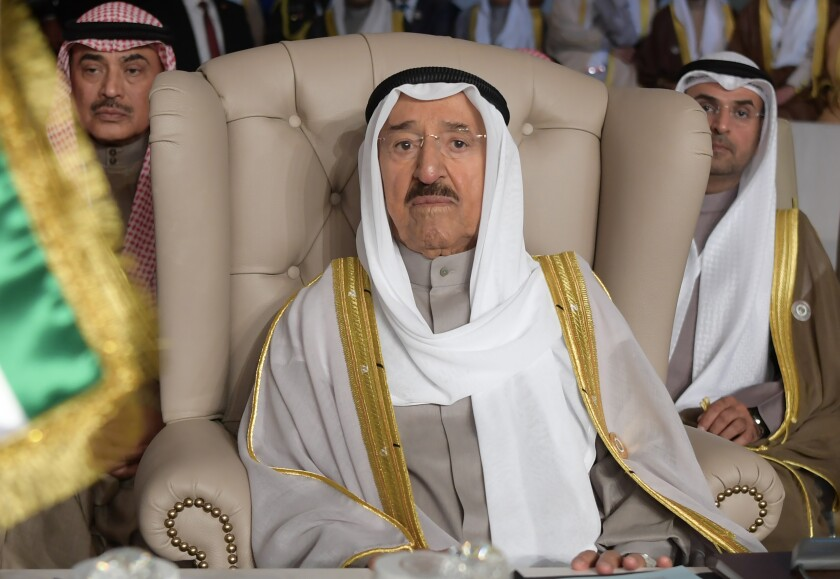 Kuwait's ruling emir, Sheik Sabah al Ahmed al Jabbar al Sabah, in March 2019