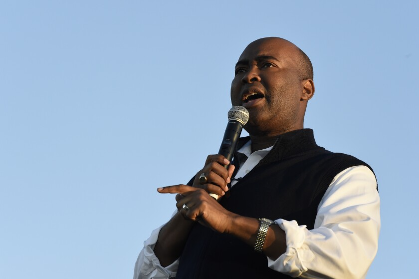 Jaime Harrison speaks at a campaign rally in North Charleston, S.C.