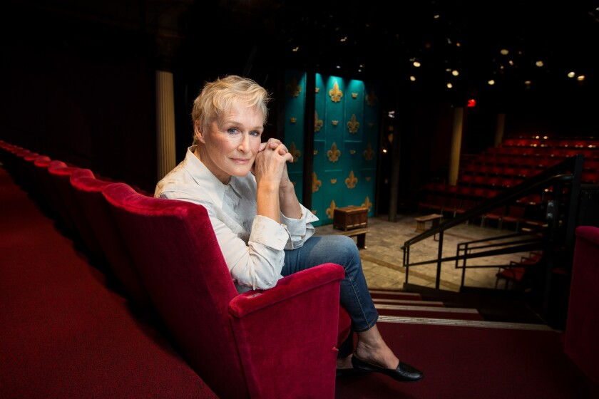 """Glenn Close, whose role in """"The Wife"""" may finally get her that Oscar win after six other nominations, poses at New York's Public Theater."""