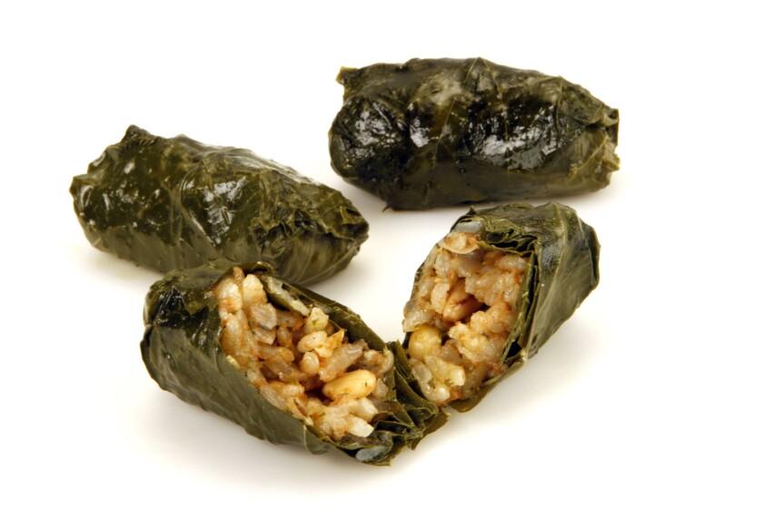 Aunt Mary's yalanchi (stuffed grape leaves)