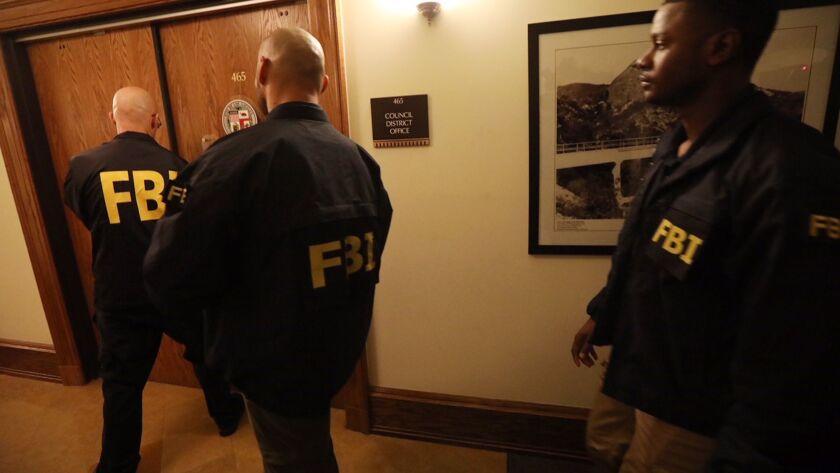 LOS ANGELES, CA - NOVEMBER 7, 2018 - - The FBI raid the office of Los Angeles City Councilman Jose H