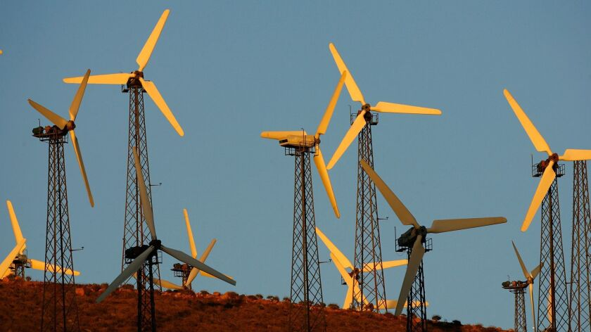The wind farm near Palm Springs glows in the sunset in 2008.