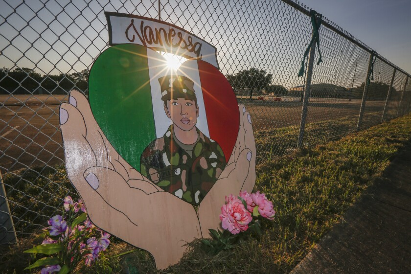 A small memorial for Army Spc. Vanessa Guillen is set up around Cesar Chavez High School.