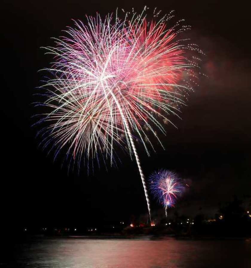 Fireworks light up the sky over Monument Point at Heisler Park during the Laguna Beach fireworks show on July 4, 2012.