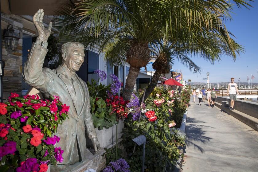 A statue of Ronald Reagan on Balboa Island