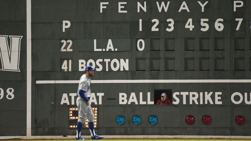 BOSTON, MA TUESDAY, OCTOBER 23, 2018 With a Fenway Park scoreboard handler looking on, Dodgers Chr