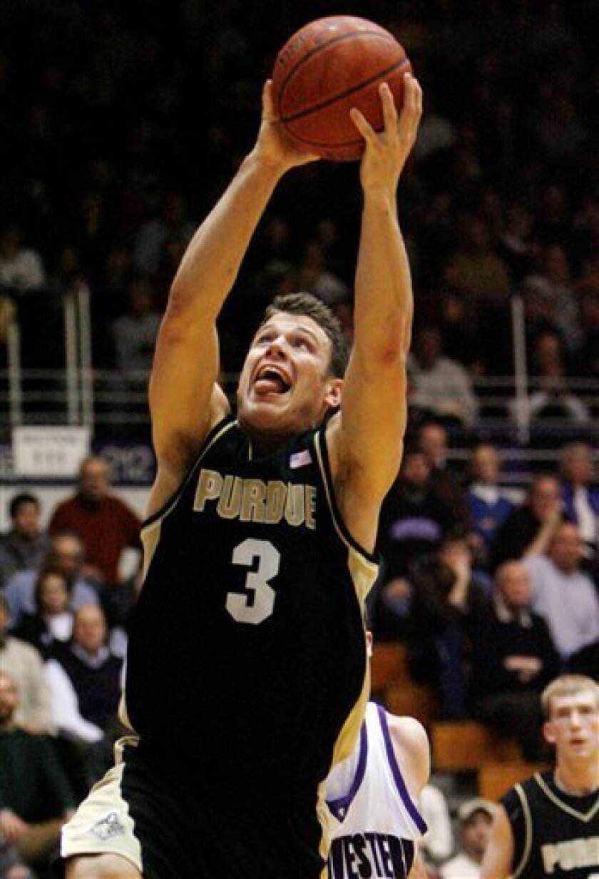 Purdue's Chris Kramer drives to the basket against Northwestern during the first half of an NCAA college men's basketball game, Thursday, Jan. 15, 2009 in Evanston, Ill. (AP Photo/Nam Y. Huh)