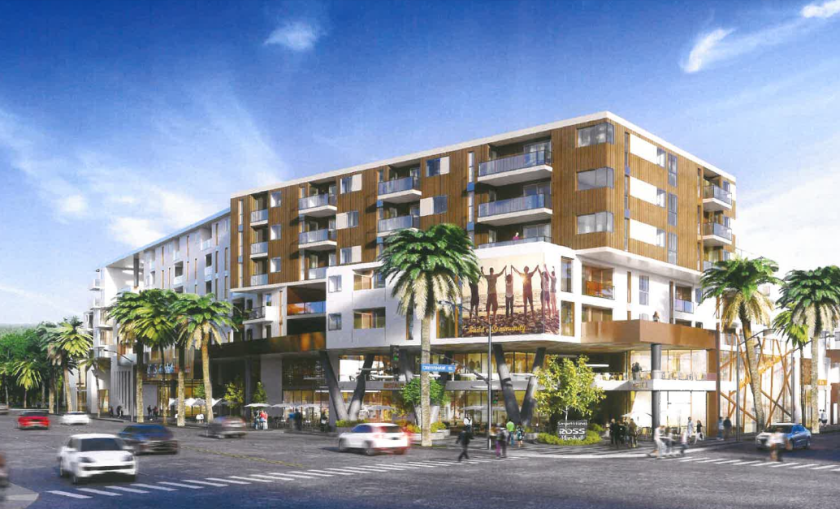 "A rendering of the proposed 577-unit apartment project, which Los Angeles City Council President Herb Wesson says would drive up rents and ""displace lifelong community residents."""