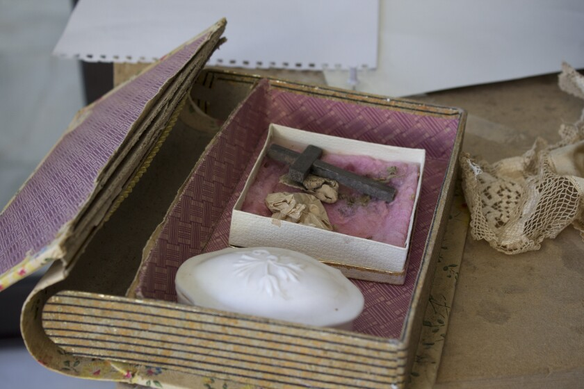 A box of relics rescued from a church during the Armenian genocide