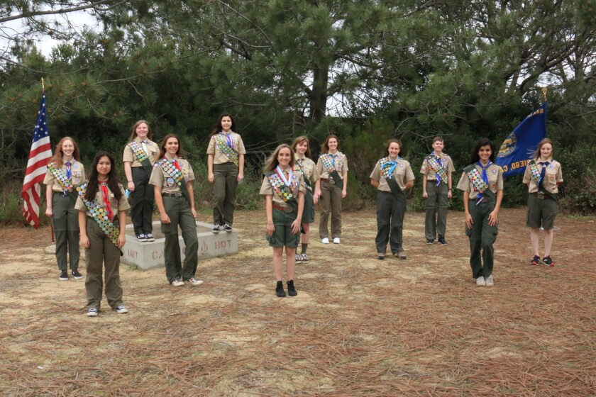 Twelve of San Diego's inaugural class of female Eagle Scouts