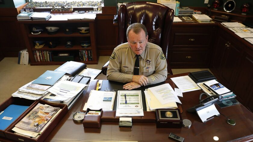 Los Angeles County Sheriff Jim McDonnell sits in his office at the Hall of Justice in downtown L.A.