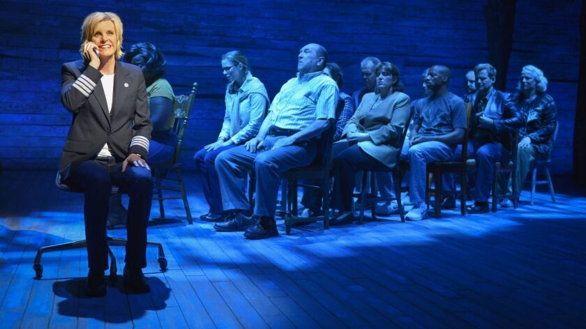 Jenn Colella (left) and the cast of La Jolla Playhouse's world-premiere musical COME FROM AWAY, book