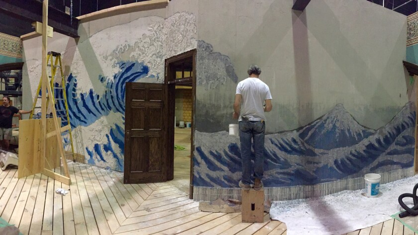 """A behind the scenes image of production design by Paul Austerberry of the wave wall on the set of """"T"""