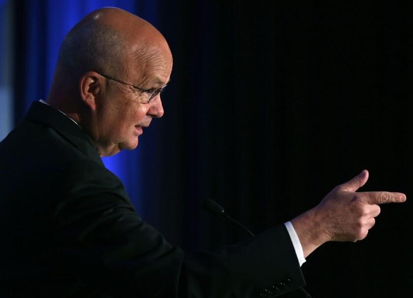 Michael Hayden, former director of the National Security Agency, speaks about the electric grid cyber security initiative during a conference hosted by the Bipartisan Policy Center in Washington. The NSA has been one of the top recruiters of cybersecurity professionals.
