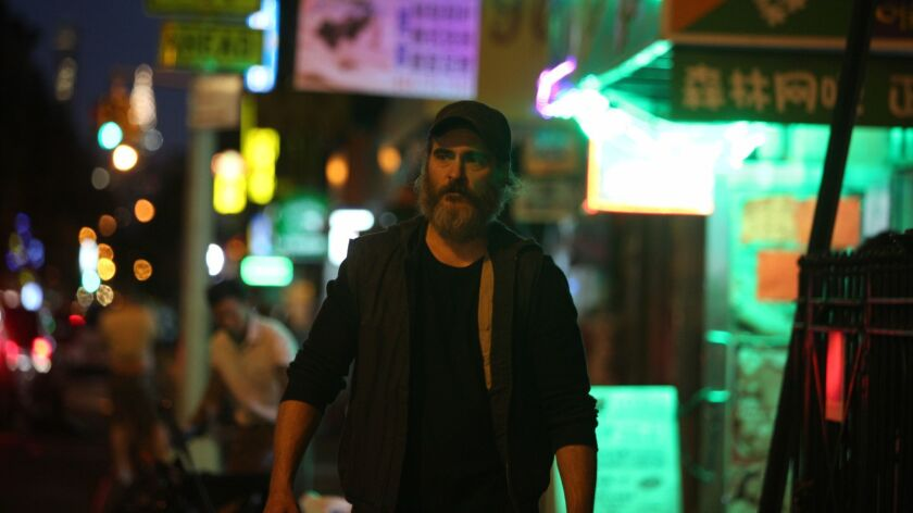 "Joaquin Phoenix in Lynne Ramsay's ""YOU WERE NEVER REALLY HERE,"" an Amazon Studios release. Credit: A"