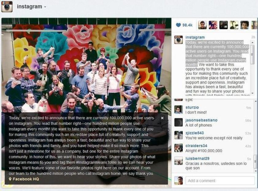 Instagram announced Tuesday that it has reached 100 million monthly users.