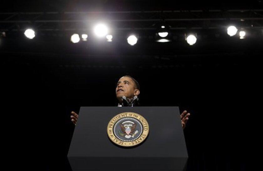 President Barack Obama speaks at the National Prayer Breakfast in Washington, Thursday, Feb. 4, 2010. (AP Photo/Pablo Martinez Monsivais)