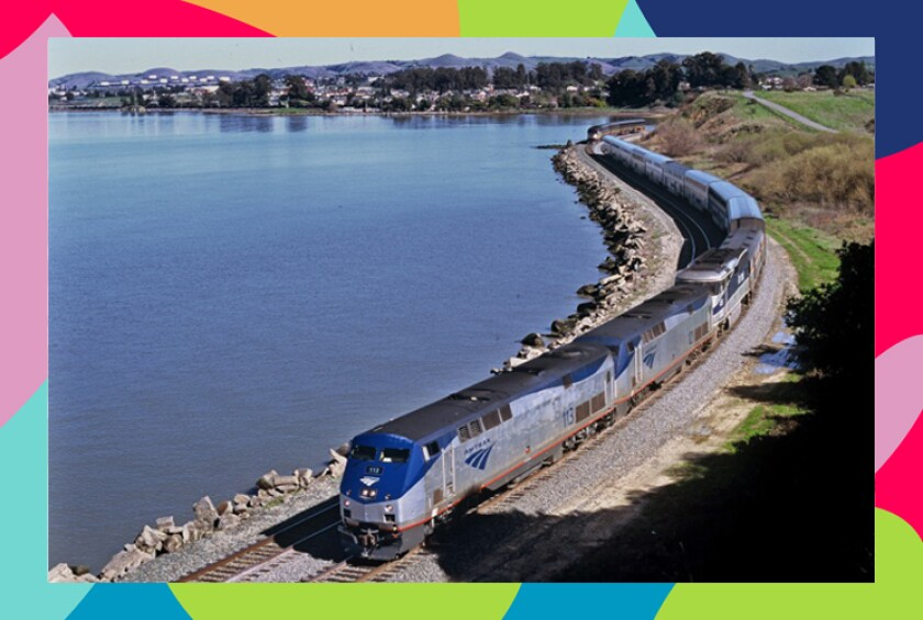 Amtrak's Coast Starlight train winds it way near Oakland.