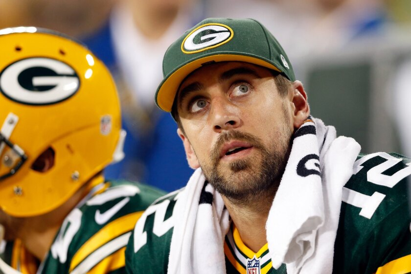 Green Bay Packers quarterback Aaron Rodgers on the sideline