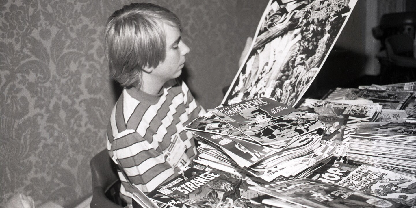 Mike Towry, 15, a Kearny High sophomore and comic book entrepreneur at San Diego's first annual Comic-Con in the U.S. Grant Hotel on Aug. 2, 1970.
