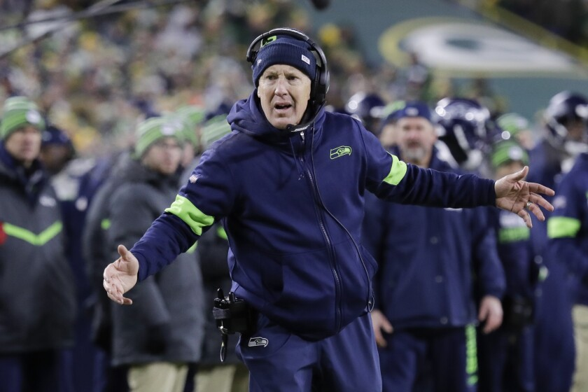 Seahawks coach Pete Carroll reacts during the second half of an NFC divisional playoff game against the Packers on Jan. 12 at Lambeau Field.