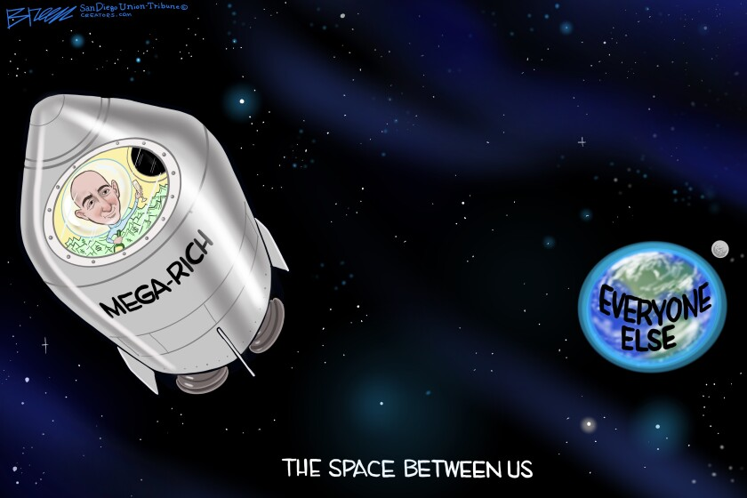 """Bezos drifts off in a space capsule from earth labeled """"Mega Rich"""" in this Breen cartoon"""