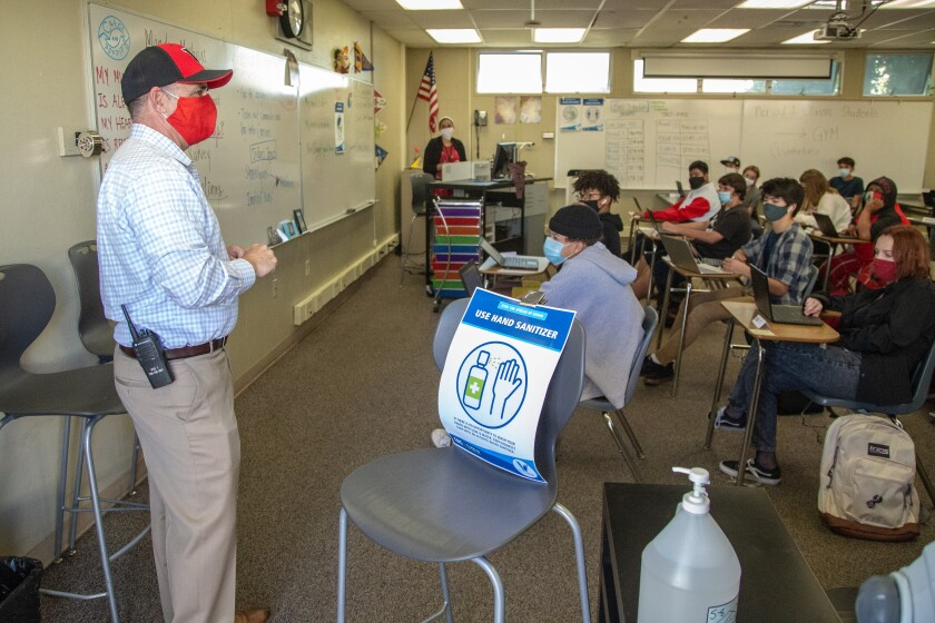 The principle of Vista High School introduced himself to a freshman classroom on Wednesday, Oct. 21