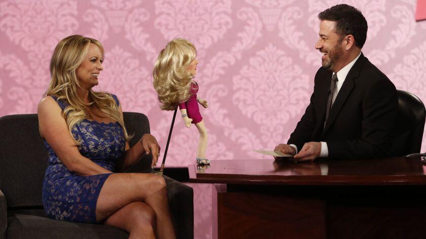 "Adult film star Stormy Daniels, left, with ""Jimmy Kimmel Live!"" host Jimmy Kimmel on Tuesday, Jan. 30."