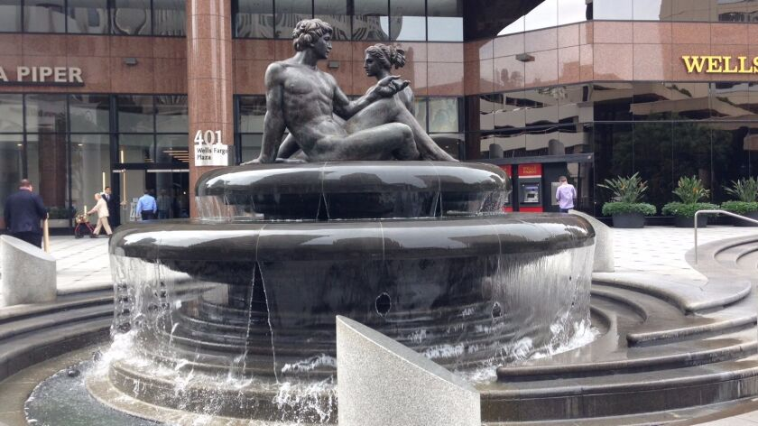 """Fountain of Two Oceans"" was installed at what is now Wells Fargo Plaza at Fifth Avenue and B Street in 1984."