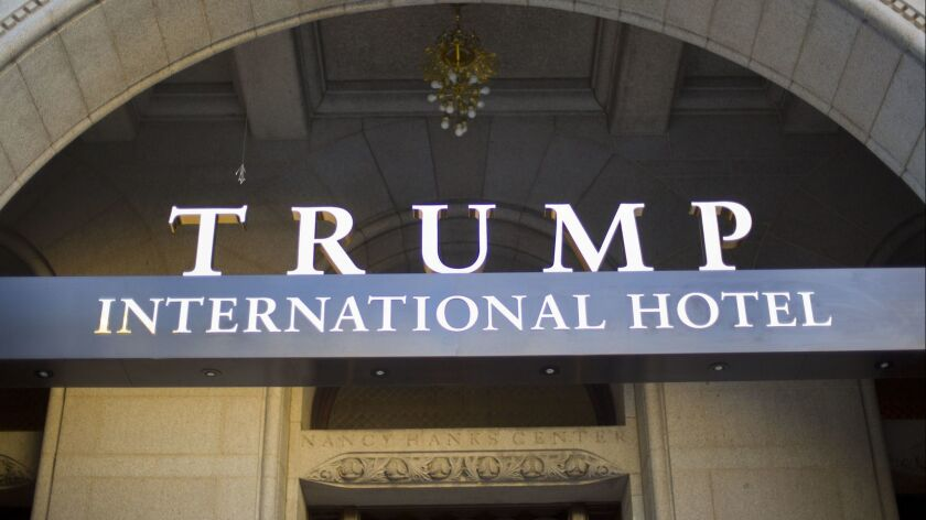 FILE - This Monday, Sept. 12, 2016, file photo, shows the exterior of the Trump International Hotel