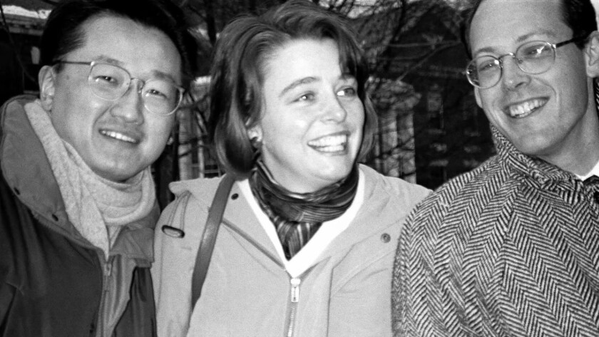 Jim Yong Kim, Ophelia Dahl, Dr. Paul Farmer in BENDING THE ARC movie. Credit: Janet Kinnane, Cour